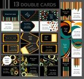 Комплект 13 двойных визитных карточек, красочный Стоковая Фотография RF