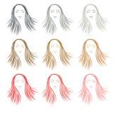 Комплект волос цвета вводя в моду для женщины Стоковое Изображение RF
