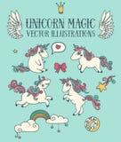 Комплект волшебства милых единорогов doodle бесплатная иллюстрация