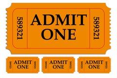 Комплект впускает бумажные билеты одно Стоковые Фото