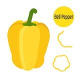 Комплект всех желтых кусков перца и chopperd Плоский стиль иллюстрация штока