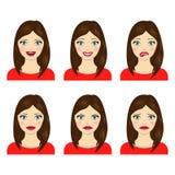 Комплект выражений лица девушки иллюстрация штока