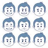 Комплект 9 выражений лица Стоковое фото RF