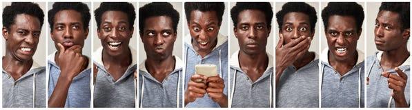 Комплект выражения стороны чернокожего человека Стоковое фото RF