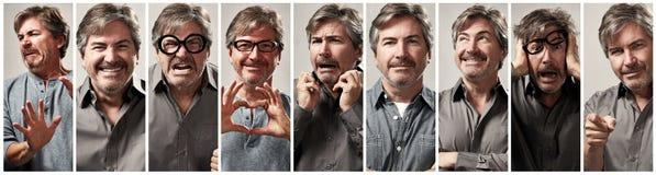 Комплект выражения стороны человека Стоковые Фото