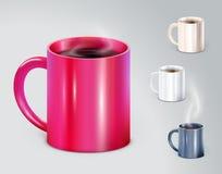Комплект высоких детальных чашек иллюстрации вектора Стоковая Фотография RF
