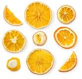 Комплект высушенных кусков и половины куска апельсина и лимона, изолированного на белой предпосылке Стоковая Фотография RF