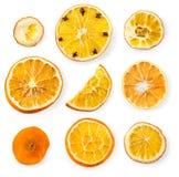 Комплект высушенных кусков и половины кусок апельсина и лимона, Стоковые Фотографии RF