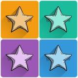 Комплект вычерченного значка звезды Стоковая Фотография RF
