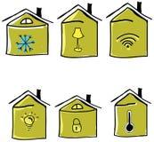 Комплект вычерченных домов также вектор иллюстрации притяжки corel Стоковая Фотография RF