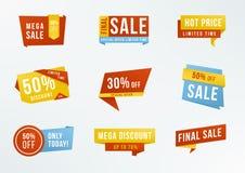 Комплект выдвиженческих ярлыков с литерностью: продажа, скидка Значки рекламы собрания Стоковые Фотографии RF