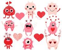 Комплект влюбленности милых извергов дня валентинок Бесплатная Иллюстрация