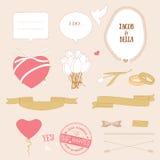 Комплект влюбленности дня валентинки романтичный, вектор иллюстрация вектора