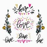 Комплект влюбленности слова литерности, ветви цветков нарисованная конструкцией рука элементов Улучшите дизайн для приглашений, р Стоковое фото RF