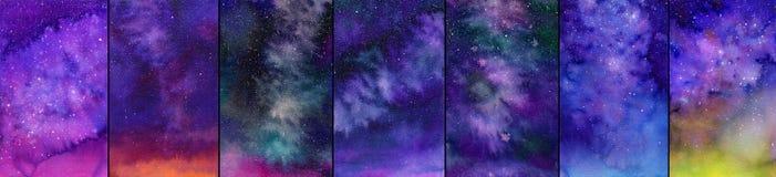 Комплект галактики или ночного неба дети подавая лебедям пруда парка иллюстраций акварель прогулки Стоковые Изображения