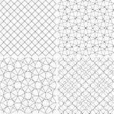 Комплект геометрическими линий нарисованных предпосылками Текстура для печати, черно-белая Стоковые Изображения