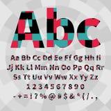 Комплект геометрических алфавита и номеров вектора Материальная геометрия Стоковое Изображение