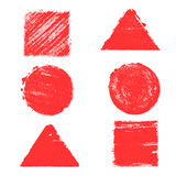 Комплект геометрических форм, покрашенный в акварели Предпосылки и текстуры Стоковые Изображения RF