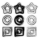 Комплект геометрических элементов движения спирали grunge Стоковое Изображение RF
