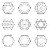 Комплект геометрических элементов, линия дизайн, шестиугольник Стоковое Изображение