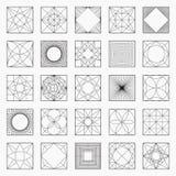 Комплект геометрических элементов или значков Стоковое Изображение