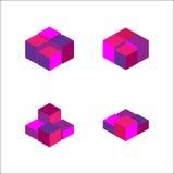 комплект геометрического куба Графический дизайн моды также вектор иллюстрации притяжки corel Конструкция предпосылки Обман зрени Стоковые Фотографии RF