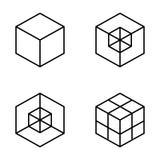 комплект геометрического куба Графический дизайн моды также вектор иллюстрации притяжки corel Конструкция предпосылки Обман зрени Стоковые Изображения RF
