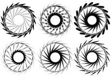 Комплект геометрического элемента 6 циркуляров Абстрактные формы геометрии Стоковое фото RF