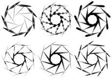 Комплект геометрического элемента 6 циркуляров Абстрактные формы геометрии Стоковое Изображение