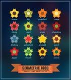 Комплект геометрической еды Стоковая Фотография