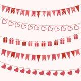 Комплект гирлянд для дня или свадьбы валентинки Стоковое Изображение RF
