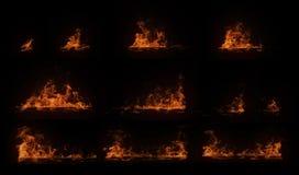 Комплект гореть горизонтальный деревянный луч с частицами Стоковое Изображение RF