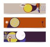 Комплект горизонтальных знамен, коллекторов. Editable конструкция Стоковое Изображение RF
