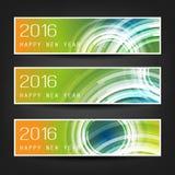 Комплект горизонтальных знамен Нового Года с красочной предпосылкой и прозрачными концентрическими кругами - 2016 Стоковые Фотографии RF