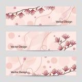Комплект горизонтальных знамен с цветками Стоковые Изображения