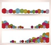 Комплект горизонтальных знамен с шариками пряжи Стоковые Изображения RF