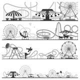 Комплект горизонтальных силуэтов парка атракционов Иллюстрации вектора русских горок иллюстрация вектора