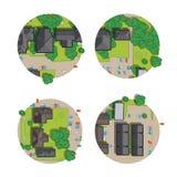 Комплект города, взгляд сверху от крыш, деревья, автомобили и улица городка Стоковое Изображение RF