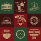 Комплект горы и взбираясь логотипов Стоковое Фото