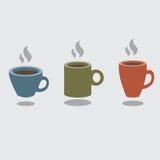 Комплект горячей кофейной чашки иллюстрация вектора