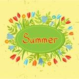 Комплект года сбора винограда цветков, лент, рамок бесплатная иллюстрация