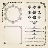 Комплект года сбора винограда элементов иллюстрация вектора