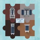 Комплект 4 головоломок с окнами Стоковая Фотография