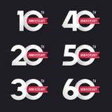 Комплект годовщины подписывает от 10th к шестидесятому иллюстрация вектора