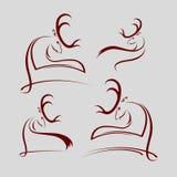 Комплект головы оленей силуэтов Стоковые Фотографии RF