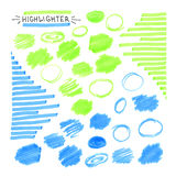 Комплект голубого и зеленого дневного highlighter иллюстрация штока