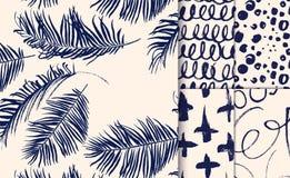Комплект голубых безшовных картин нарисованных с сухой щеткой Стоковое Фото