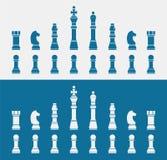 Комплект голубых значков шахмат иллюстрация штока