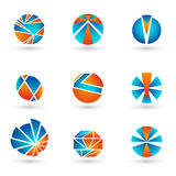 Комплект голубых и оранжевых логотипов Стоковое Изображение RF