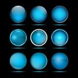 Комплект голубых круглых кнопок для вебсайта Стоковые Фотографии RF